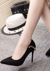 Zapatos punta del dedo del pie aguja de diamantes de imitación de moda de tacón alto negro