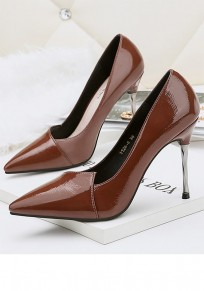 Brown Point Toe Stiletto Fashion High-Heeled Shoes