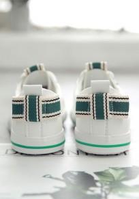 Weiße und grüne runde Zehe Bogen Mode Knöchel Schuhe