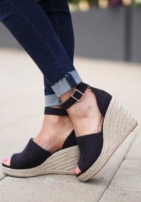 Sandalias cuñas de punta redonda hebilla de moda de tacón alto negro