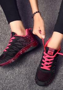 Chaussures et rouge bout rond plat décontracté noir
