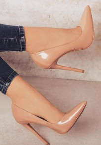 Chaussures bout pointu coiffert mode à talons hauts abricot