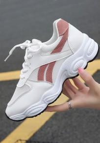 Weiße und rosa runde Zehe Flickwerk beiläufige schwere Schuhe