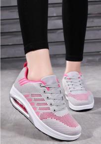 Chaussures bout rond à lacets décontracté cheville gris clair