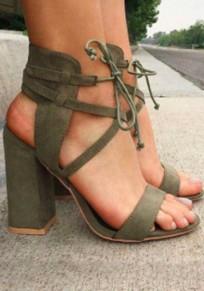 Sandales bout rond trapu à lacets talons hauts vert armée