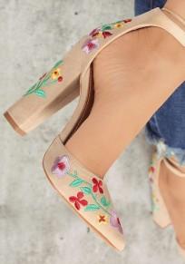 Apricot Point Toe Chunky Embroidery Fashion High-Heeled Shoes