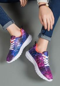 Lila runde Zehe flache Flickwerk Beiläufig Knöchel Schuhe