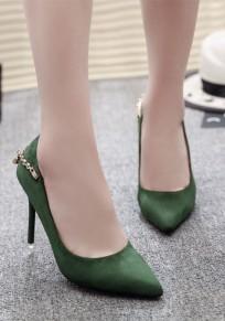 Green Point Toe Stiletto Rhinestone Fashion High-Heeled Shoes