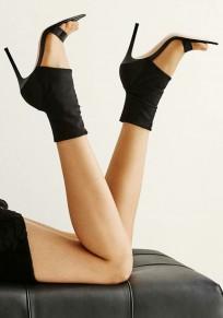 Sandales bout rond coiffert mode à talons hauts noir