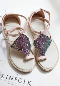 Pink Round Toe Flat Sequin Buckle Casual Sandals