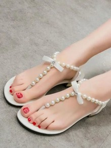 Weiß Runde Zehe Strass Perlen Schleife Zehentrenner Flache Sandalen Damen Sommer Schuhe