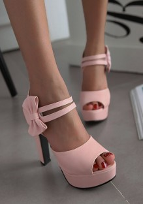 Sandales piscine bouche trapu noeud papillon mode à talons hauts rose