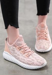 Rosa runde Zehe Spitze up Beiläufig Knöchel Schuhe