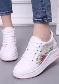 Weiße und rosa runde zehe Blumen Stickerei Spitze Mode Schuhe