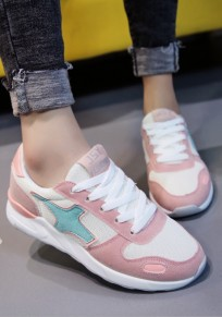 Chaussures bout rond à lacets décontracté cheville rose