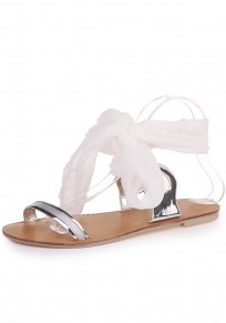 White Round Toe Flat Cross Strap Fashion Ankle Sandals