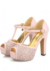 Sandales bout rond paillette strass trapu mode à talons hauts rose