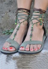 Sandales bout rond mode gland plat cheville vert