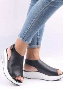Sandalias piscine boca velcro moda suela pesada negro