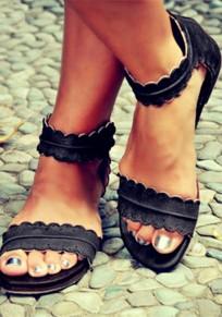 Sandales cheville bord ondulé bout rond plat mode vintage boho noir femme