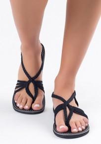 Sandales bout rond mode de la courroie croisée plate noir