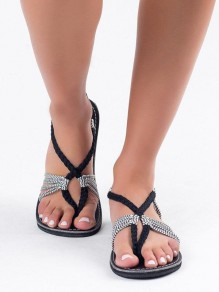 White Round Toe Flat Cross Braided Strap Beach Ankle Sandals