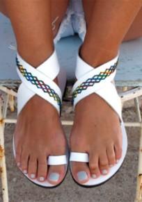 Sandali punta tonda piatta tagliata alla moda caviglia bianca