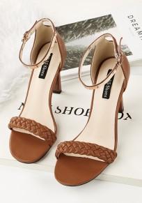 Braun runde Zehe Stilett Mental Mode Sandalen mit hohen Absätzen