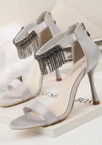 Graue Runde Zehe Stilett Strass Mode High-Heel Sandaletten