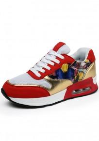 Chaussures bout rond imprimé à lacets décontracté cheville rouge