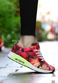 Chaussures rose framboise bout rond lacets décontracté cheville