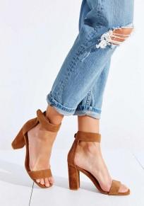 Sandales bout rond gros morceaux mode haut talon marron