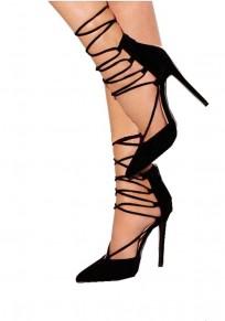 Zapatos punta de tacón de aguja con cordones de tacón alto negro