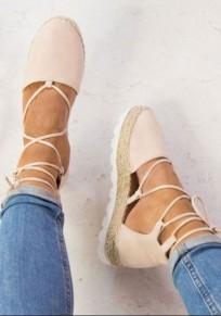 Rosa Runde Zehe Keilabsatz Schnürung Lace-up Römer Mode Sommer Sandalen Damen Schuhe
