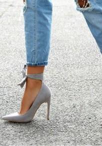 Graue Spitze Zehe Stilett Schleife Mode Schuhe mit Hohen Absätzen Damen Pumps