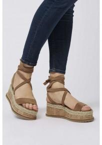 Sandalias cuñas de punta redonda correa cruzada casuales de tacón alto camello