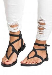 Schwarz Runde Zehe Flache Schnürung Fesselriemen Mode Hippie Römer Zehentrenner Sandalen Schuhe Damen