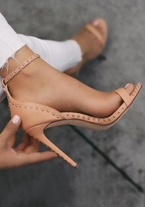 Sandalias puntera redonda remache de aguja de moda albaricoque