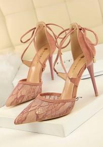 Chaussures bout pointu coiffert dentelle bandoulière mode à talons hauts rose