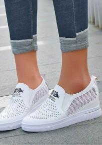 Scarpe punta tonda piatta casuale bianca