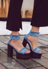 Sandalias puntera redonda fornida dulce tacón alto azul
