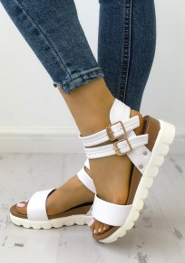 White Round Toe Wedges Buckle Fashion Ankle Sandals