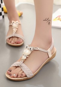 White Round Toe Flat Metal Decoration Fashion Ankle Sandals