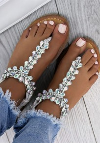Silver Round Toe Rhinestone Fashion Ankle Sandals