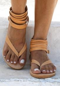 Sandales bout rond coupe à plat cheville jaune