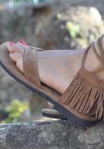Sandales bout rond mode gland plat cheville marron