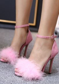 Pink Round Toe Stiletto Faux Fur Casual Going out Cute Fluffy High-Heeled Sandals