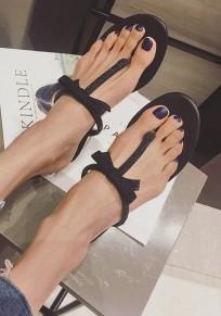 Sandales bout rond trapu noeud papillon strass occasionnel cheville noir