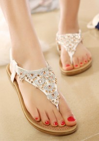 White Round Toe Flat Rhinestone Fashion Ankle Sandals