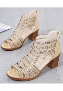 Sandalias punta redonda corte forrado tobillo de moda dorado